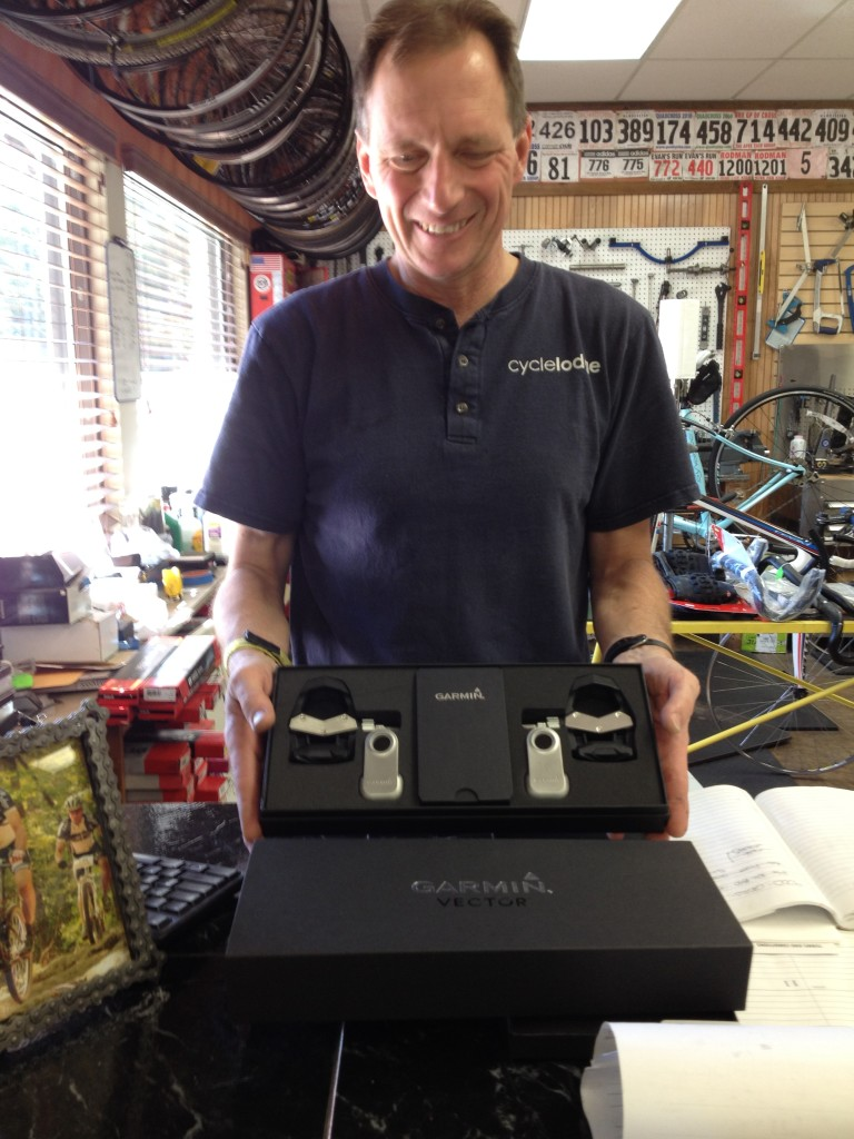 Jim peddling his new pedals (geddit?)